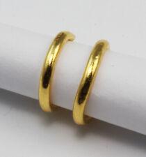 New 24K Solid Yellow Gold Simple Hoop Earrings 1.2 Grams