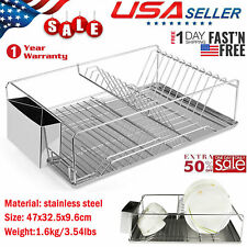 Kitchen Dish Drying Rack Stainless Steel Storage w/ Chopstick Holder Rrustless
