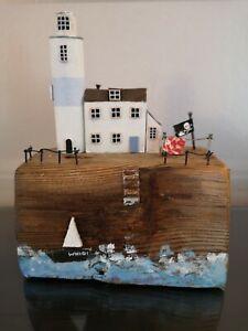 Driftwood Art Coastal Lighthouse And Keepers Cottage