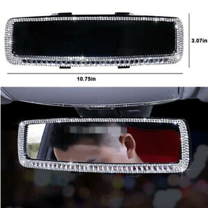 Crystal Bling Diamond Rear View Mirror Cover For Car Interior Rearview Mirror