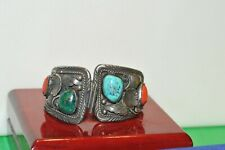 Vintage Native American Watch Band Coral/Turquoise Signed CL