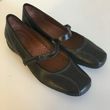 St Johns Bay Women's 9 M Black Leather Mary Jane Shoes Ballet Flats