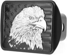 "USA US Eagle Metal Black Flag Metal Trailer Hitch Cover Fits 2"" Receiver"