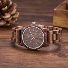 Uwood Wood Watch Men's Real Natural Wooden Band Quartz Wristwatch Analog Display Black Walnut