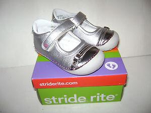 NIB Stride Rite BUTTERCUP Toddler Girls Dressy Shoes sz 6 M SILVER VERY CUTE