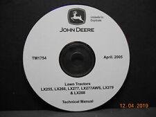 John Deere LX255 LX266 LX277 LX277AWS LX279 LX288 Technical Manual TM1754 On CD