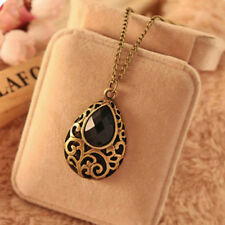 Fashion Elegant Black Crystal Sweater Chain Pendant Necklace Women Girl Jewelry