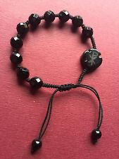 Catholic handmade Natural Black Agate bracelet Men's Women Religion Gift Rosary