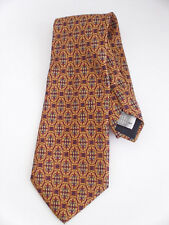 Barneys of New York 100% Silk Men's Tie Made in Italy Gold Red Blue Classical