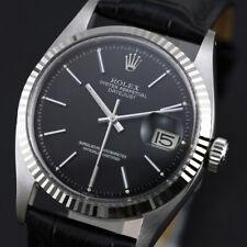VINTAGE MEN'S ROLEX 6605 CAL 1065  DATEJUST BLACK DIAL WHITE GOLD BEZEL WATCH