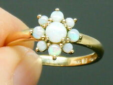 9CT gold  9K Gold Fiery Opal Hallmarked Cluster Ring size M