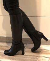 STEPHANE KELIAN - Bottes talons 9 cm cuir tressé noir 39 - NEUF