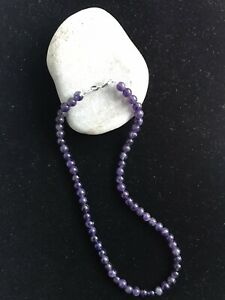 Amethyst 6 mm Beads Genuine - Women Necklace - 925 Sterling Silver - Free P&P