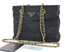 Authentic PRADA Black Nylon Shoulder Bag Purse #33411