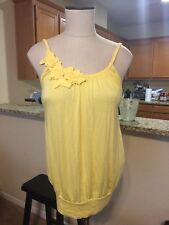 Women's Anthropologie Ella Moss Yellow Floral Embellished Tank Top Size M