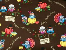 Thanksgiving Quilting Fabric Owl Harvest Time Pumpkin  Cotton New 1/2YD