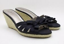 Ann Taylor Loft Womens 8.5 M Espadrille Wedge Black Bow Open Toe Sandal Slip On
