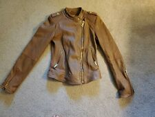 Zara Basic Faux Leather Jacket Light Brown Extra Small
