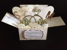 Handmade card, 3D Wedding Card in a box -Wedding rings