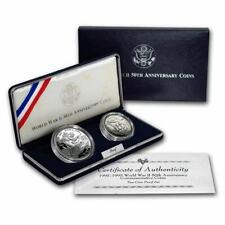 1993 World War Ii Commem 2 Coin Proof Set Complete Silver Dollar Half Box & Coa