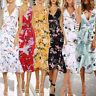 Summer Women Floral Bodycon V-Neck Party Sleeveless Beach Casual Long Maxi Dress