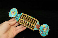 """7.28"""" Collection Old Chinese copper Cloisonne painting pattern Ruyi shape abacus"""