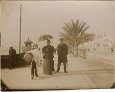PHOTO ANCIENNE - VINTAGE SNAPSHOT -NICE PROMENADE DES ANGLAIS MODE OMBRELLE 1894