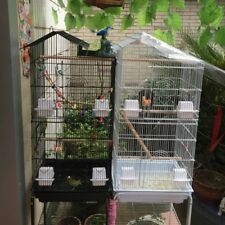 Steel Bird Parrot Cage Canary Parakeet Cockatiel W/Stand Wood Perches Food Cups