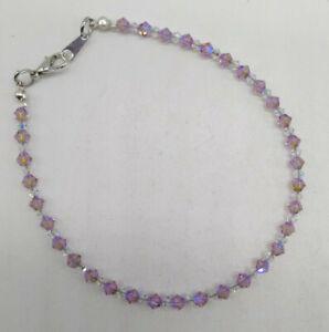 Handmade w/ Swarovski Crystal Light Amethyst Shimmer 2X Beaded Anklet / Bracelet
