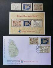 Sri Lanka Stamp Ancient Maps of Sri Lanka 2020 MS + FDC + 3v Complete Set