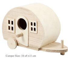 Pine Wood Camper Van Wood Crafts Caravan Decoration Toy Model Camp Site Camper