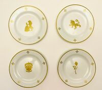 "Disney Parks Beauty And The Beast Enchanted Rose 8"" Gold Accent 4 Set Plates"