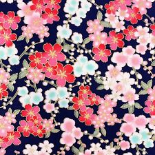 Cherry blossom fabric, oriental Japanese Chinese style, navy pink gold floral