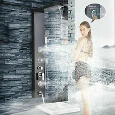 Brushed Black Shower Panel Tower Rain Waterfall Massage Body System Jet Sprayer