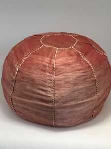 Handcrafted Moroccan Woven Sabra Cactus Silk Pouf Ottoman Footstool
