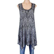Womens 2X Top Shirt Tunic Tank Black Animal Print Asymmetrical Lagenlook Summer