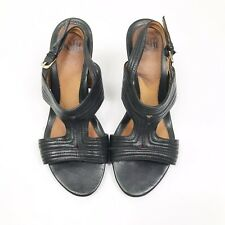 Sofft Womens Black Chunky Strap Comfortable Heels Sandals Size 7M