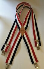 Roebucks Mens PATRIOTIC SUSPENDERS Red White Blue Stripe Elastic CLIPS USA