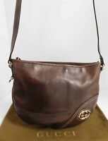 Gucci Brit GG Brown Leather Top Zip Crossbody Shoulder Bag Italy