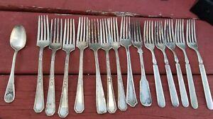Vintage Flatware Forks Hudson Motors Cambridge Landers Solid Nickel Silver Roger