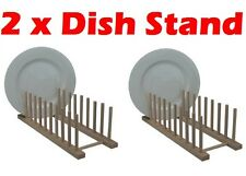 2 x Wood Wooden Kitchen Sink Dish Drainer Sturdy Plate Cups Drying Stand Rack