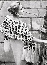 Vintae Crochet pattern-how para hacer una década de 1950 Noche Wrap shawl-granny Plazas