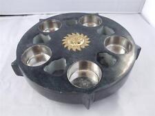 Soapstone Tea Light Holder Candle Plate with Sun Symbol.