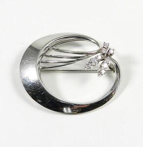 Vintage Diamant Brosche 585 Weißgold & 0,35ct Brillanten Diamond Brooch