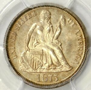 PCGS MS64 1875 SEATED DIME