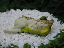 Miniature Figurine Fairy Garden ~ Sleeping Leaf Fairy Baby with Little Frog New