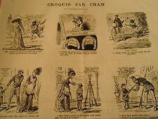 Vignettes 19èm Un placeur monté sur un Vélocipède Caricature