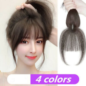 Frangette per capelli Clip Real la frangia parrucchino ANTERIORE🍀3D donne calde