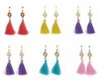 Women Tassel Earring Fashionable Stud Dangle Crystal Silk Rhinestone Ear Jewelry