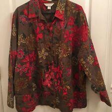 CJ Banks by Christopher & Banks Floral Flower Embroidered Olive Denim Jacket X
